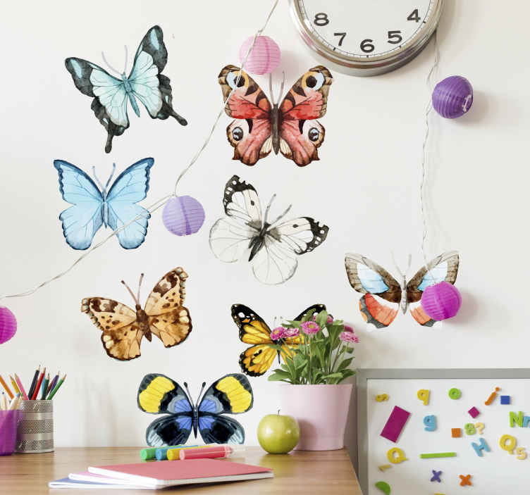 TenStickers. Collection of Butterflies Wall Sticker. Beautiful illustrative butterfly wall sticker. The bright wall sticker features lovely butterflies with many different colours. Creates a fresh, peaceful and natural atmosphere.
