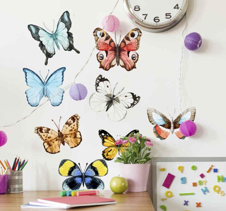 TenStickers. 나비 벽 스티커 컬렉션. 아름 다운 설명 나비 벽 스티커입니다. 밝은 벽 스티커는 많은 다른 색깔을 가진 사랑스러운 나비를 특색 짓는다. 신선하고 평화 롭고 자연적인 분위기를 연출합니다.