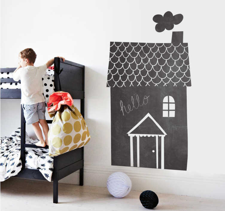 TenVinilo. Vinilo infantil pizarra casa chimenea. Original vinilo de pizarra con forma de casa ideal para la decoración del cuarto de tus hijos.