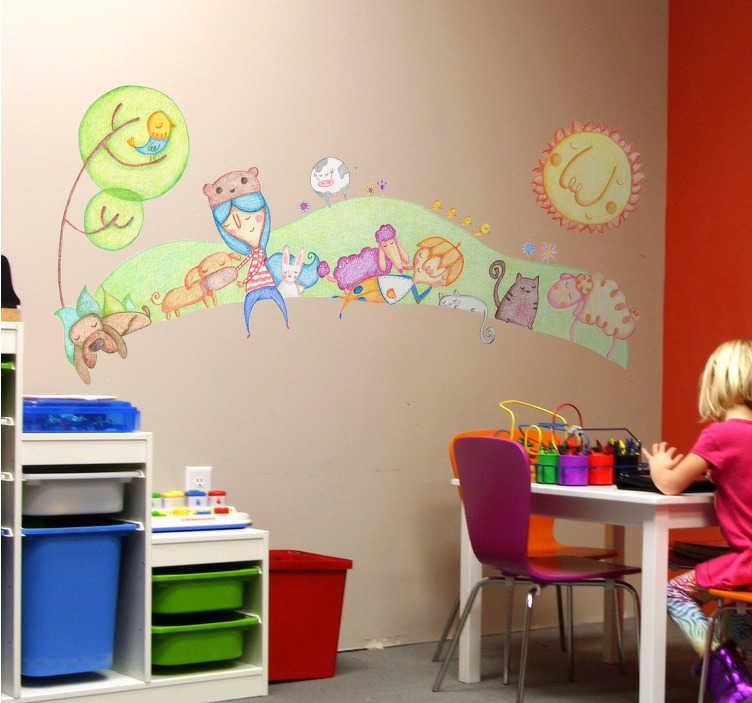 TenStickers. Wandtattoo Kinder mit Tieren Buntstift. Wandtattoo Kinderzimmer: Buntstift Design, Junge und Mädchen, Tiere wie Hunde, Katzen, Vögel, Schafe, Kaninchen