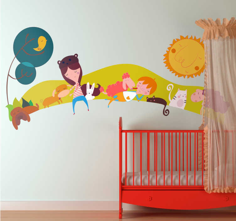 TenStickers. Children's Animal Landscape Sticker. Children's wall decal with an image of a meadow and several children accompanied by animals.