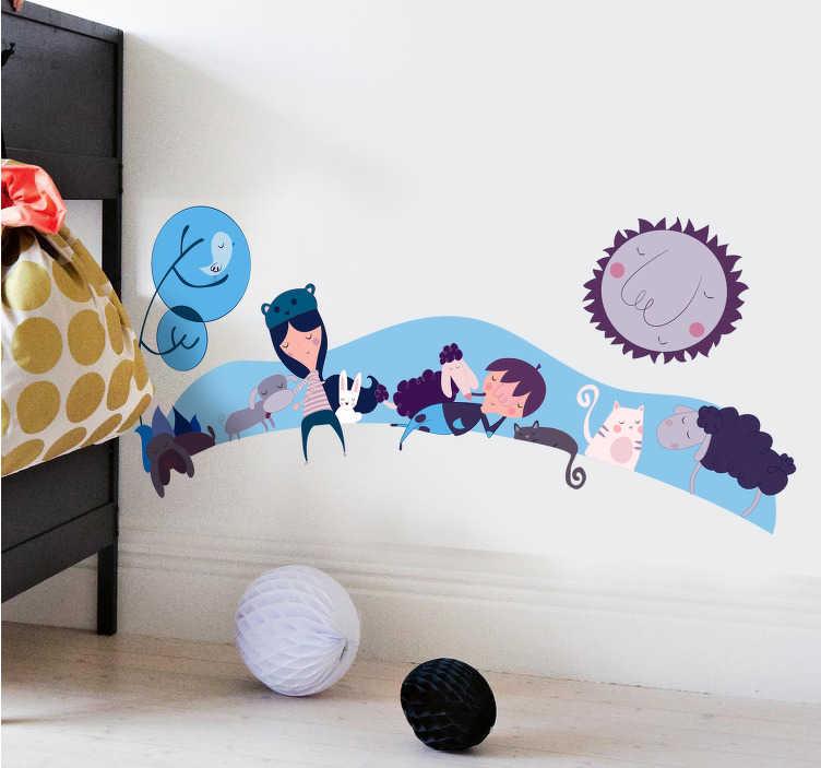 TenStickers. Wandtattoo Kinder mit Tieren blau. Gestalten Sie die Wände im Kinderzimmer mit diesem niedlichen Wandtattoo in blauen Farben. Kinder und Tiere im Schlaf.