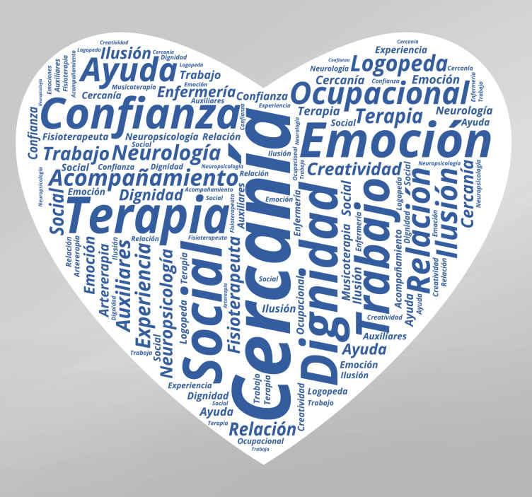 TenVinilo. Vinilo corazon conceptos médicos. Vinilo con forma de corazón formado con textos relacionados con el mundo de la salud y la medicina.