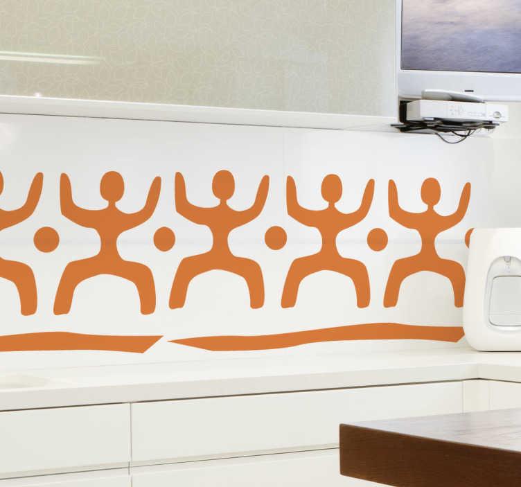 TenStickers. Sticker decorativo cornice tribale. Adesivo murale che raffigura una cornice con una serie di omini stilizzati separati da pallini. Una decorazione in stile etnico per il soggiorno o la camera da letto.