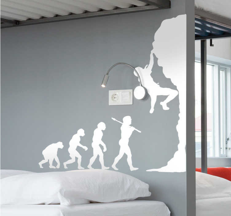 TenStickers. Evolution Climbing Wall Sticker. A fun rock climbing wall sticker of an evolution timeline from monkeys to humans climbing! A great design from our collection of funny wall stickers. A superb sports wall decal for those that love the human evolution and extreme sports such as mountaineering and bouldering!