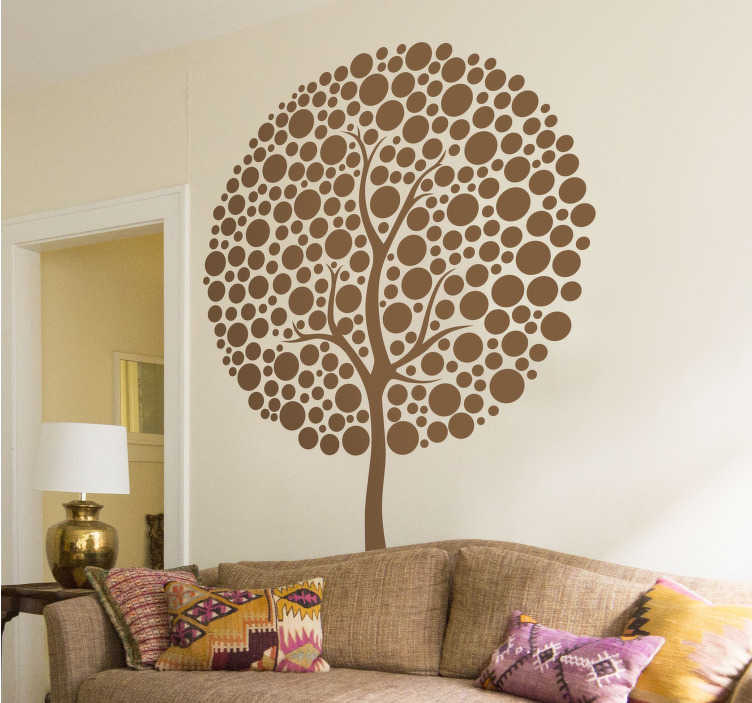 TenVinilo. Vinilo abstracción copa circular arbol. Detallado vinilo decorativo con la síntesis de un árbol cuya copa está plagada de hojas circulares.
