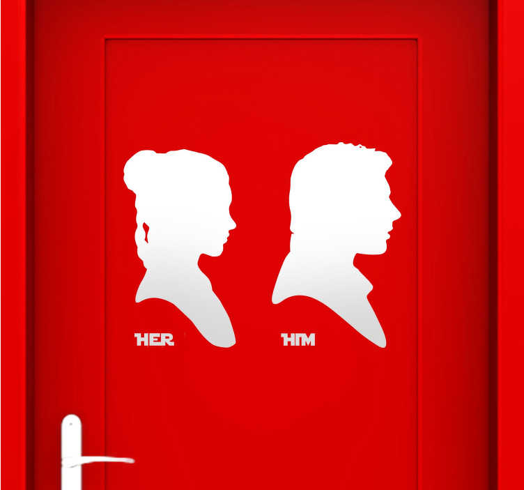 TenStickers. Him & Her Bathroom Star Wars Decals. Fabulous stickers illustrating two main characters from Star Wars. A fantastic way of decorating your bathroom doors!