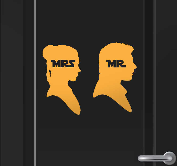 TenStickers. Mr & Mrs Star Wars Bathroom Stickers. Decorative stickers for your bathroom illustrating two characters in the Star Wars saga. Superb for those who love Star Wars.