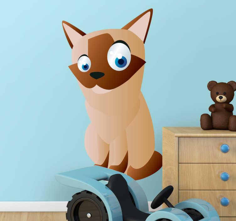 TenStickers. Sticker enfant animal chat siamois. Stickers pour enfant illustrant un chat siamois aux grands yeux bleus.Super idée déco pour la chambre d'enfant et tout autre espace de jeux.