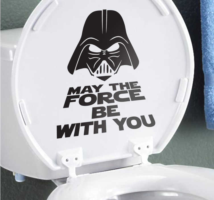 "TenStickers. Autocolante para WC darth vader. Autocolante para WC do Star Wars, sticker para dar humor a uma sanita épica frase ""may the force be with you"" com Darth Vader."