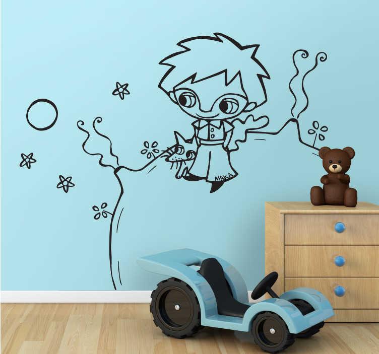 """TenStickers. Sticker per bambini Il piccolo Principe. Sticker per bambini ispirato dal racondo di Antoine Saint-Exupery, """"il piccolo principe""""."""