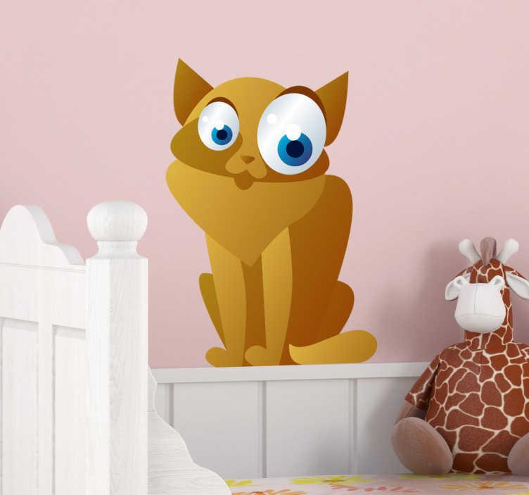 TenStickers. 孩子们波斯猫墙贴. 孩子的墙贴;波斯猫的有趣和顽皮的插图,大眼睛。孩子们的卧室和游乐区的理想选择。