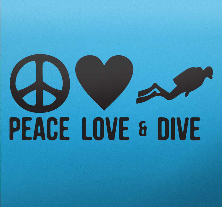 """TenStickers. Vinil decorativo Peace Love Dive. Adesivo iconográfico com o texto """"Peace, Love  & Dive"""", pensado para o público que gosta de mergulho que significa """"Paz, amor e mergulho""""."""