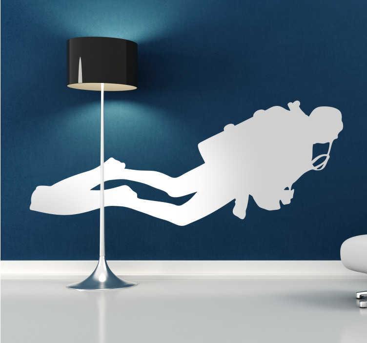 TenStickers. Autolante personalizado mergulhador. Autocolante personalizado com um mergulhador Ideal para a decoração do quarto ou para a decoração da sala.