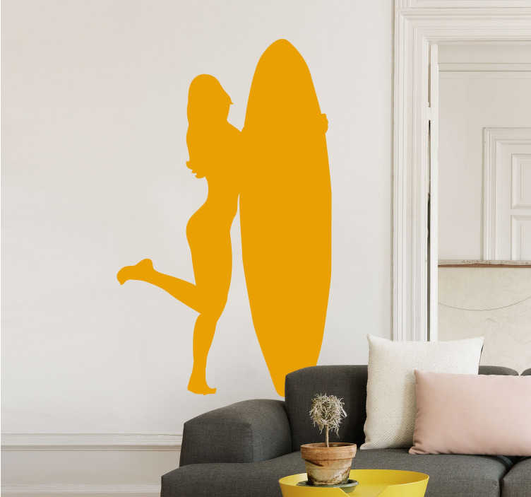 TenStickers. Silhouette Surfer Girl Sticker. Sticker with the profile of a young and stylish girl holding a surfboard.