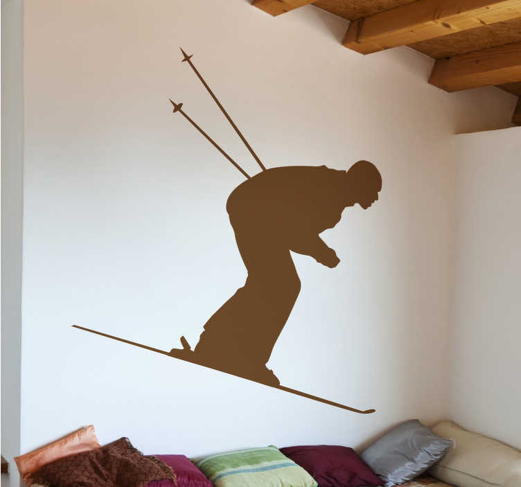 TenStickers. Vinil decorativo silhueta de esquiador. Autocolante desporto com o perfil de um profissional de ski em plena descida. Sticker pensado para quem gosta de montanha e de praticar ski.