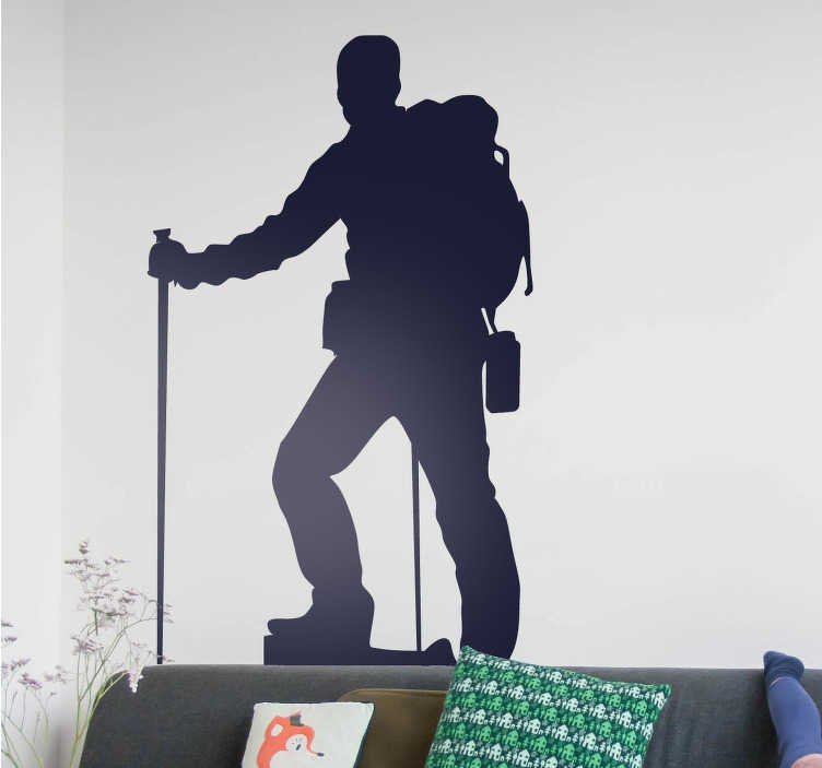 TenStickers. Mountain Climber Silhouette Sticker. A great hiking wall sticker with the silhouette of a professional looking mountain climber, perfect for mountaineering enthusiasts. Customize the walls of any room in your home, your sportswear store, your laptop or your vehicle.