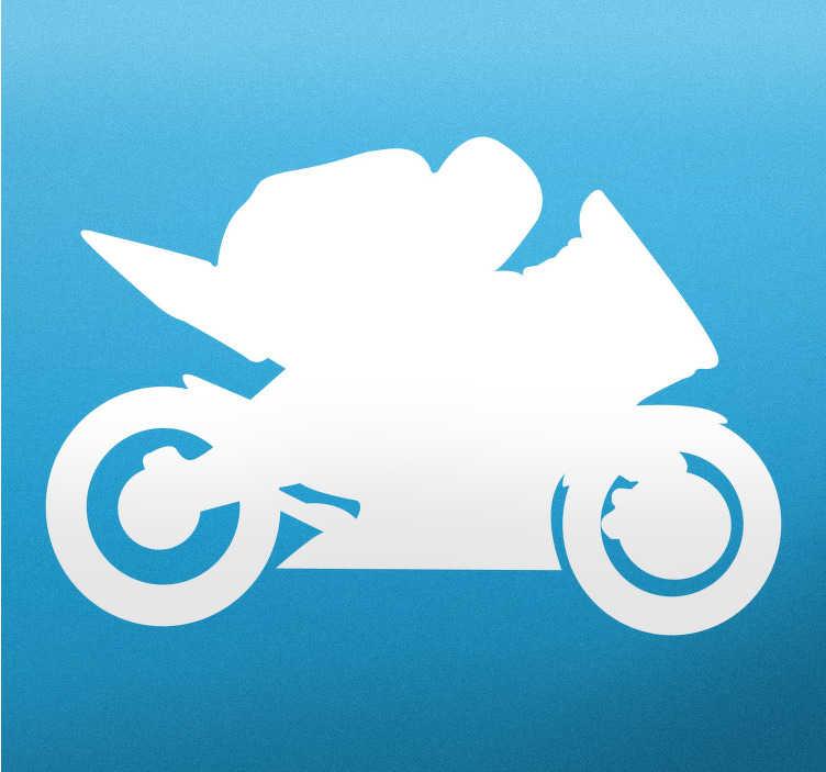 TenStickers. Nalepka biker silhueta stene. Nalepke z motornimi kolesi - odlična dekoracija za bikerje, ki prikazuje motoriste z največjo hitrostjo. Kot nalašč za ljubitelje motornih koles in teens sob