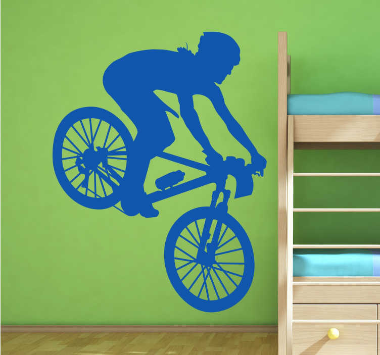 TenStickers. Mountain Biker Silhouette Sticker. Spectacular mountain bike wall sticker for fans of the world of cycling. Do you spend the weekends cycling with your friends? Do you enjoy the thrill of off road cycling? This is an ideal sticker to suit you and your hobby.