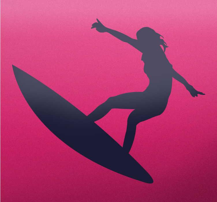 Vinilo decorativo surfer girl saltando