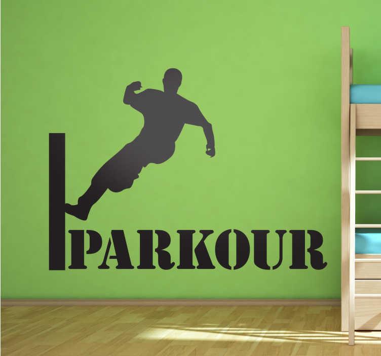 TenStickers. Vinil juvenil salto parkour. Autocolante com silhueta de um jovem acrobata a praticar parkour, uma disciplina urbana espectacular.