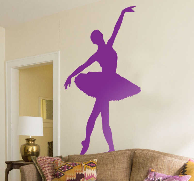 TenStickers. Classic Ballet Dancer Sticker. Elegant silhouette sticker showing a graceful ballet dancer in action. Original dance wall sticker that gives an elegant atmosphere to your home. Ideal for any room, whether it be an aspiring dancers bedroom room, living room or even a ballroom or dance studio.