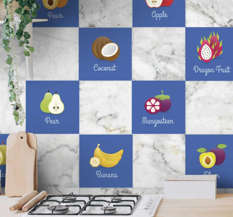 TENSTICKERS. フルーツキッチンステッカー. キッチンに新しい外観と雰囲気を与えるためのさまざまなフルーツのステッカーのセット。あなたの台所のための私達のタイルステッカーからのユニークなデザイン。
