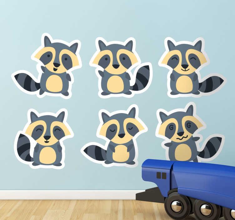 TenStickers. Sticker bambini orsetti lavatori. Set di stickers per bambini che raffigura 6 dolcissimi orsetti lavatori.