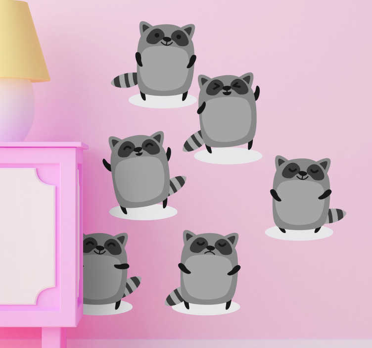 TenStickers. Children's Raccoon Stickers. Sticker for young children with six illustrations of the same cute waving raccoon.