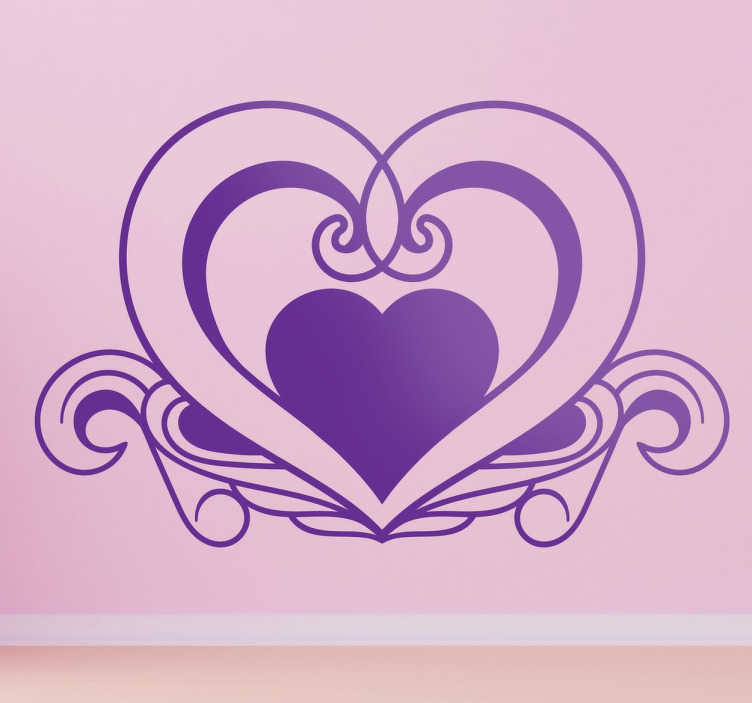 TenStickers. Elegant Heart Shape Decal. A creative heart wall art decal from our collection of heart stickers to decorate your bedroom and enjoy the atmosphere it provides.