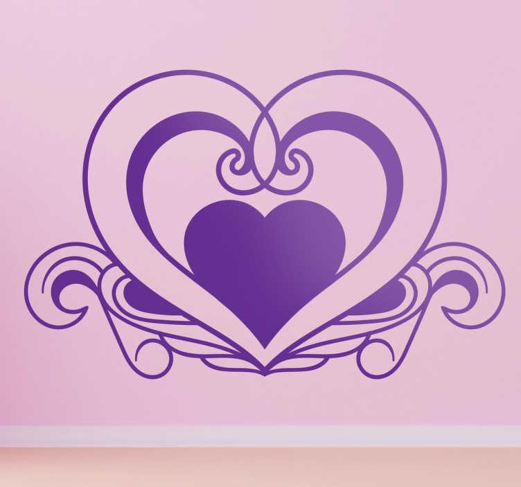 TenVinilo. Vinilo decorativo amor corazón elegante. Adhesivo retro con un detallado dibujo de un corazón ideal para días como San Valentín.