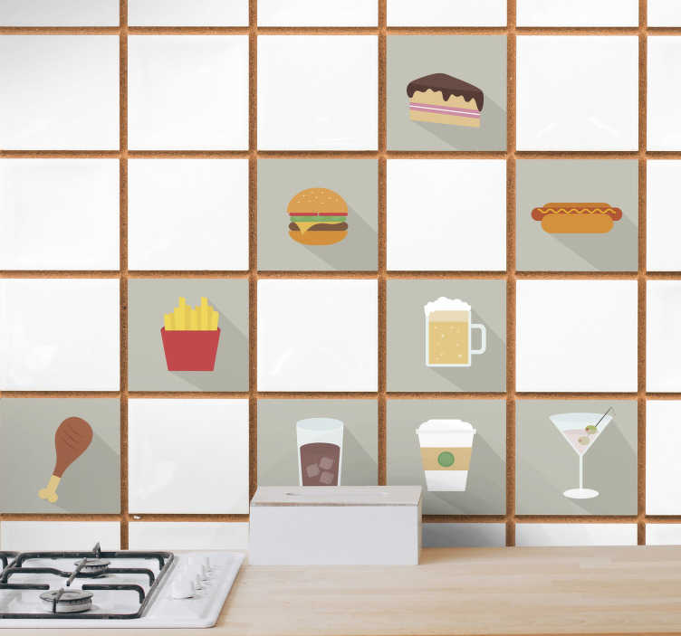 TenStickers. Eten fastfood keuken sticker. Beplak de keuken vol met allemaal verschillende stickers van fastfood! Het zijn er in totaal 12! Beplak de keuken of de eetkamer met deze stickers!