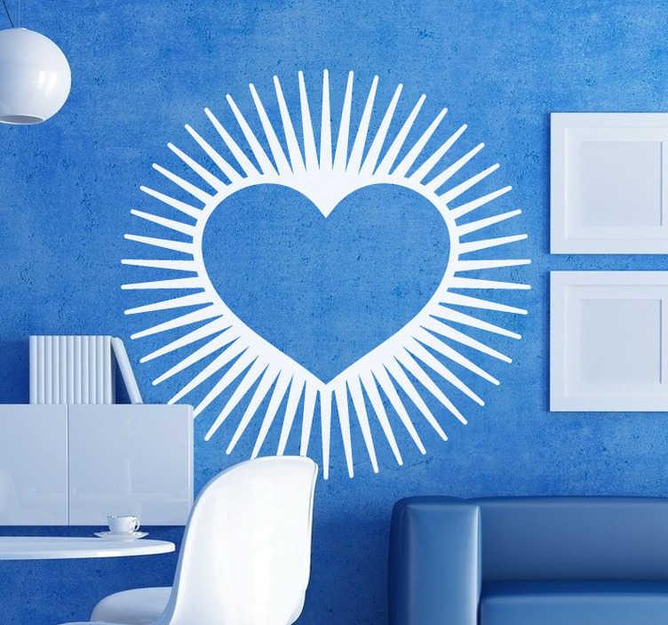 TenStickers. Naklejka serce z promieniami. Naklejka dekoracjna przedstawiająca kształ serca, z którego krawędzi wydobywają się promienie.