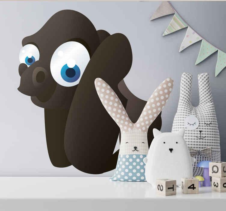 TenStickers. Sticker enfant animal gorille. Stickers autocollant illustrant un gorille aux grands yeux bleus et pensé pour décorer les murs d'une chambre d'enfant et ses accessoires favoris avec une touche de couleurs et de sympathie