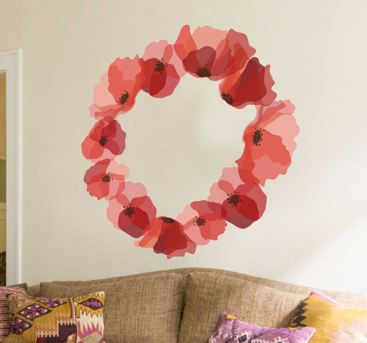 TenStickers. Wreath of Poppies Sticker. A magnificent design illustrating a wreath of poppies from our collection of poppy wall stickers to decorate any space at home.