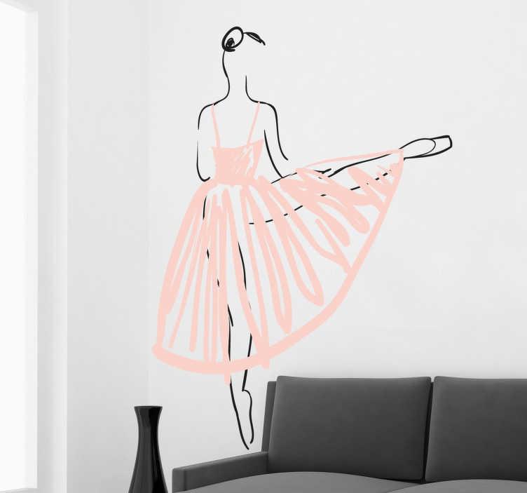TenStickers. Autocolante decorativo bailarina de balé. Autocolante decorativo de uma bailarina de balé. Sticker personalizado apropriado para a decoração da sala ou para decoração do quarto.