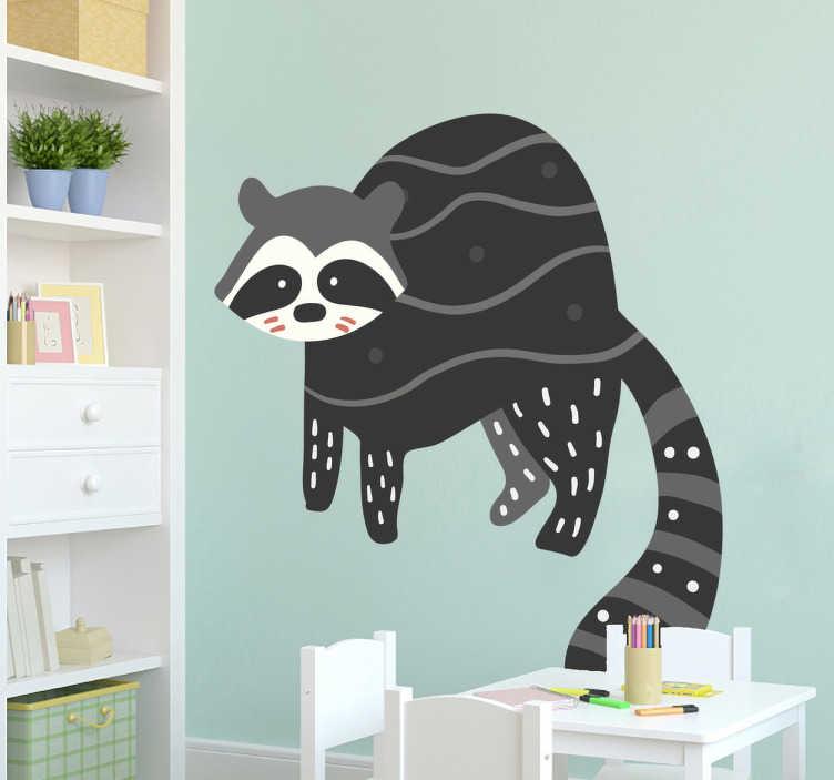 TenStickers. Vinil decorativo ilustração guaxinim. Adesivo infantil com um desenho original do animal de bosque preferido dos teus filhos.