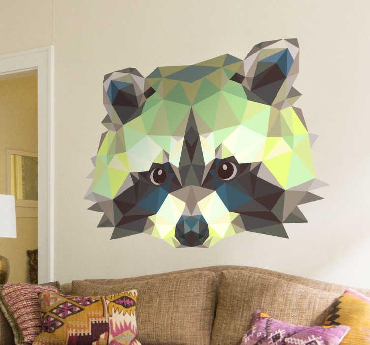 TenStickers. Vinil decorativo guaxinim geométrico. Adesivo infantil com desenho de guaxinim construído com triângulos , ideal para aplicares em qualquer espaço.