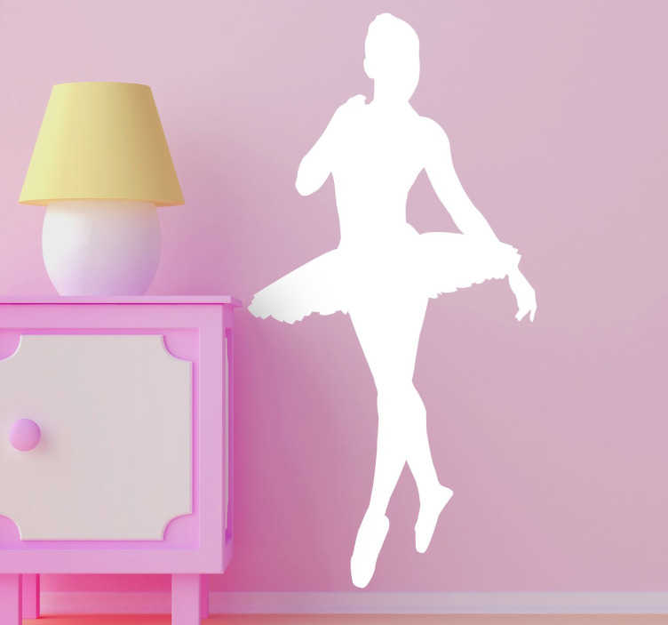 TenStickers. Ballerina Silhouette Sticker. Ballet wall sticker with the silhouette of a graceful ballerina wearing a tutu. The ballerina decal comes in different colours and sizes.
