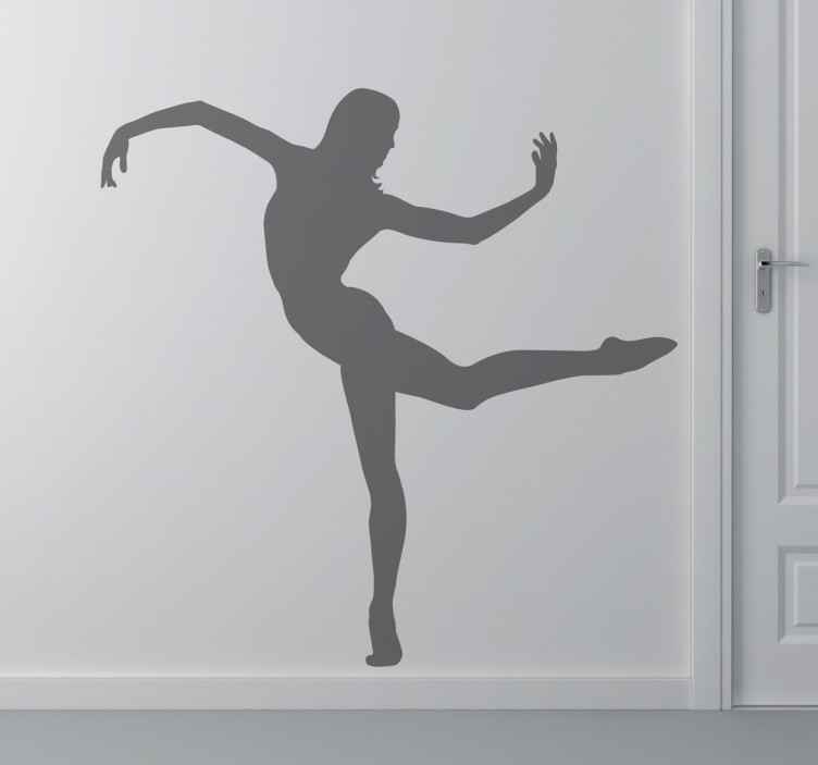 TenStickers. Contemporary Dancer Silhouette Sticker. Spectacular sticker with the profile of a girl performing a contemporary dance step.