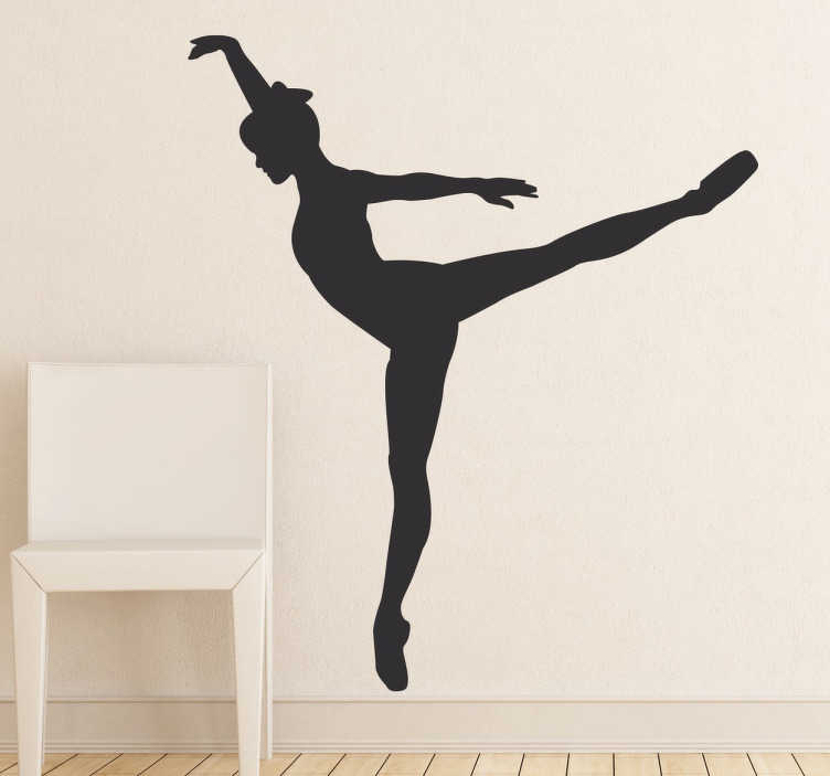 TenStickers. Tiptoe Dancer Sticker. Silhouette wall sticker designed for all those fond of dancing. Dance wall sticker with the silhouette of a young dancer performing a risky yet graceful dance step. Available in a wide range of colours and sizes.