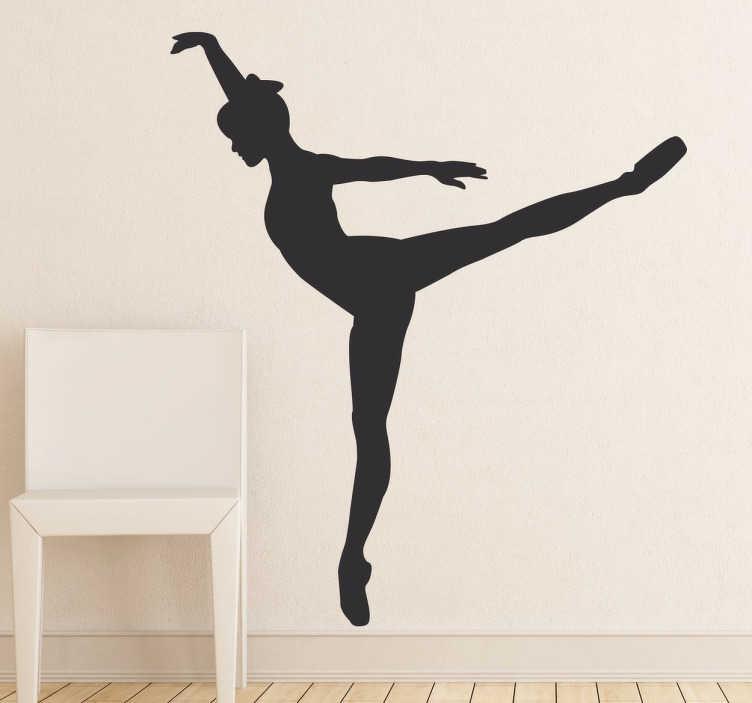TenStickers. Naklejka tancerka na jednej nodze. Sylwetka tancerki wykonującej popisowy taniec w postaci monochromatycznej naklejki na ścianę.