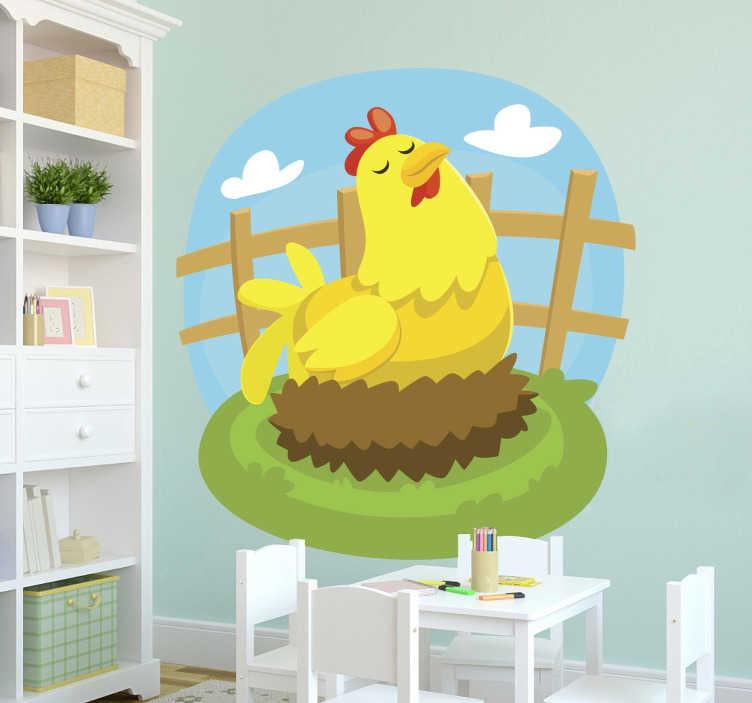 TenStickers. Sticker enfants poule pondeuse. Sticker décoratif idéal pour personnaliser la chambre des enfants avec les animaux de la ferme, comme cette maman poule en train de pondre.