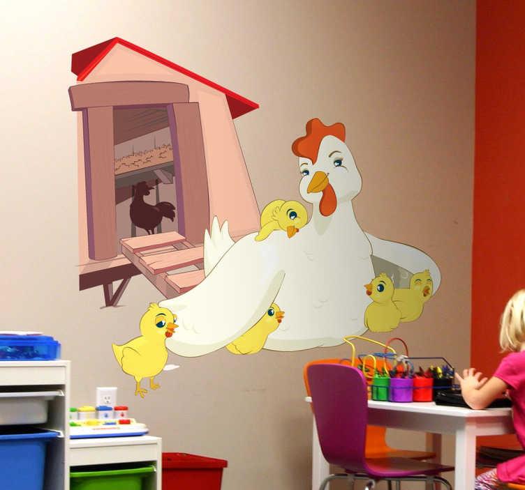 TenStickers. Sticker poule poussins. Sticker enfants, pour décorer une chambre ou une salle de jeux avec cette maman poule et ses poussins.