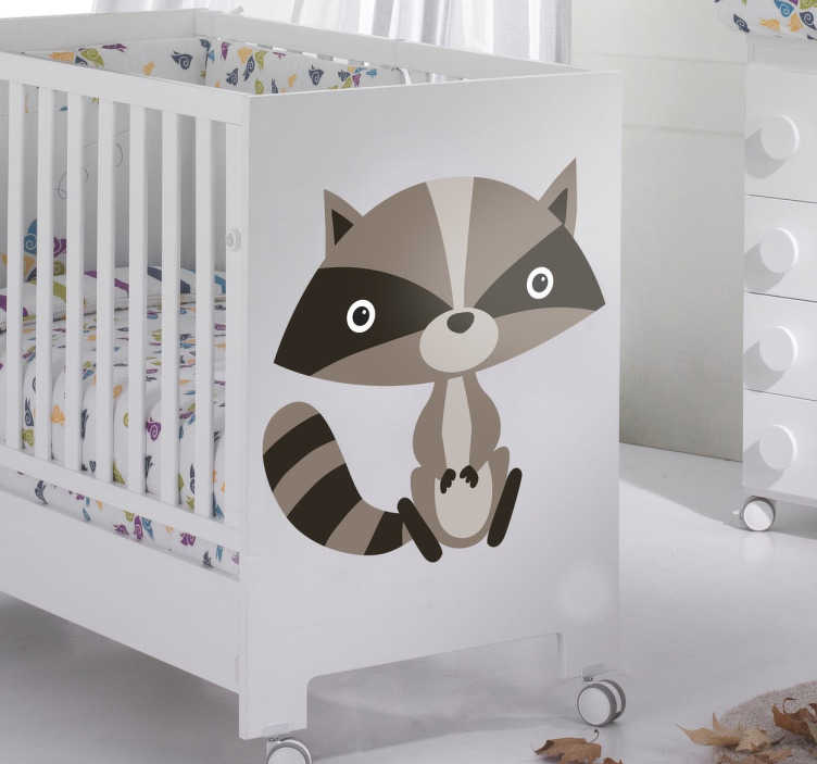 TenStickers. Children's Cute Raccoon Sticker. Sticker for children with a fun illustration of a small raccoon in grey tones.