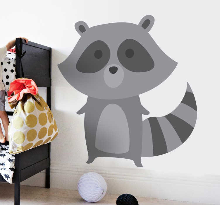 TenStickers. Grey Raccoon Sticker. Children's sticker of a fun little raccoon in shades of grey.