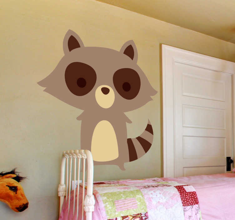 TenStickers. Brown Raccoon Kids Sticker. Stickers for children designed to convert your regular play room into a relaxing and special place.