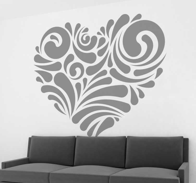 TenStickers. Naklejka serce. Naklejka dekoracyjna na ścianę przedstawiająca różne motywy ułożone w kształ serca. Elegancki i subtelny wzór, który idealnie wypełni puste miejsca w mieszkaniu.