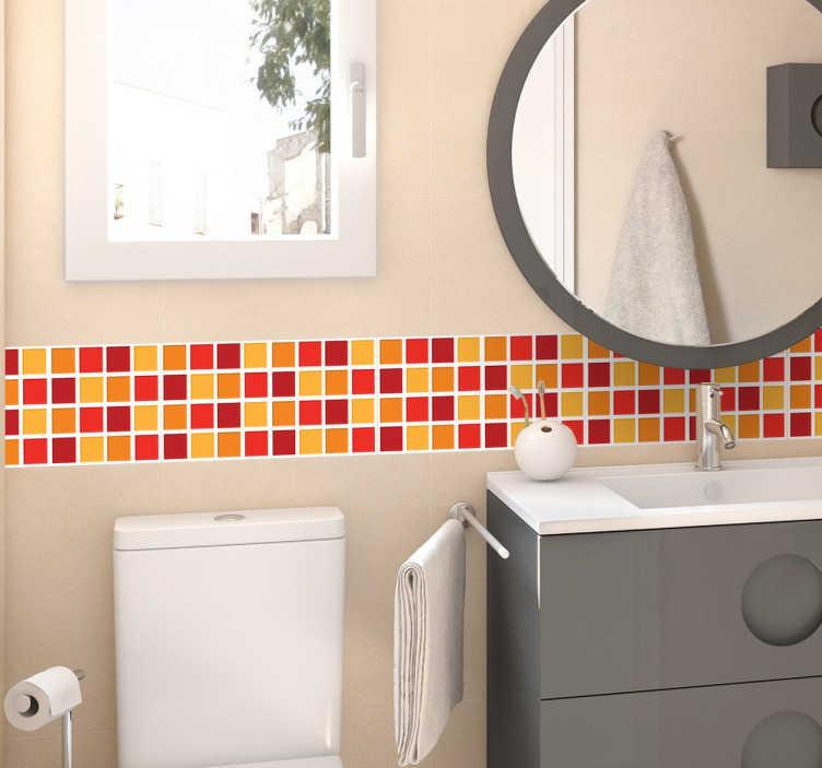 TenStickers. Warm Colours Bathroom Tile Sticker. Wyróżniający się motyw do łazienki przedstawiający pasek na ścianę z kafelkami w różnych, ciepłych odcieniach w postaci naklejki na ścianę.
