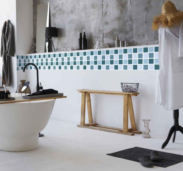 TenStickers. Fliesenaufkleber Bordüre in Blautönen. Bordüre Badezimmer Wandfliesen - Dekorationsidee für Ihr Badezimmer. Mosaikoptik.